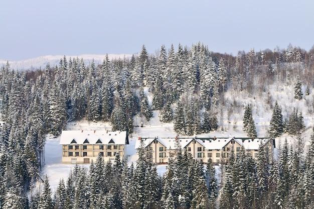 Drewniani domy na tle śnieżny las
