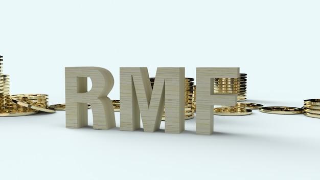 Drewniani teksta rmf i złota coons, 3d rendering.