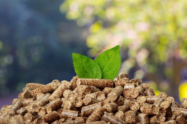 Drewniani wyrka na zielonym tle. biopaliwa