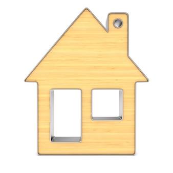 Drewniany bibelot dom na białym tle