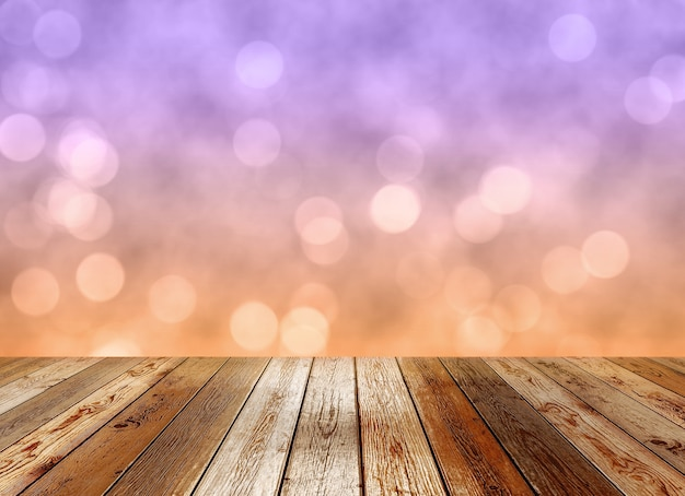 Drewniany blat na pastelowym kolorowym tle bokeh