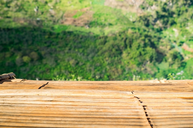 Drewniany Blat Na Plantacji Herbaty Naturalny Premium Zdjęcia