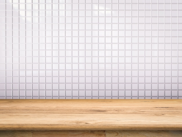 Drewniany blat z białym tłem mozaiki