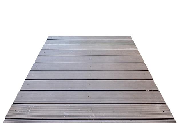 Drewniany chodnik mostowy z desek, na białym tle