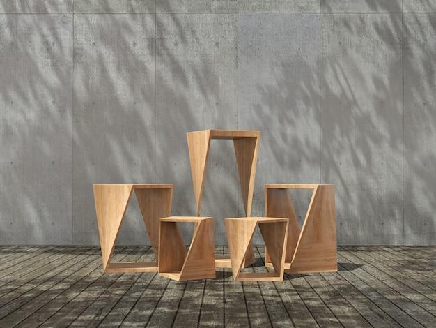 Drewniany cokół do prezentacji produktów na drewnianej podłodze