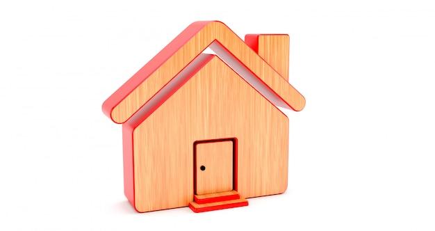 Drewniany dom na białej ścianie. pomysł na koncepcję nieruchomości