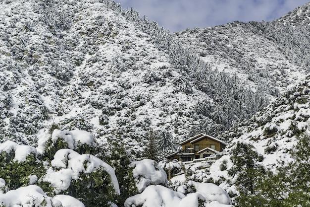 Drewniany dom w górach pokrytych śniegiem i lasem pod błękitne niebo pochmurne