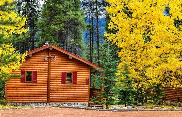 Drewniany dom w jesieni, park narodowy banff, kanada