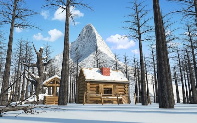 Drewniany dom w zimowym lesie pod górą