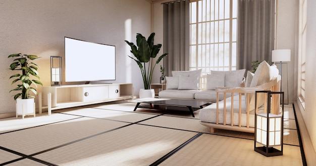 Drewniany fotel i przegroda japońska na tropikalnym wnętrzu pokoju z podłogą z maty tatami i białą ścianą. renderowanie 3d