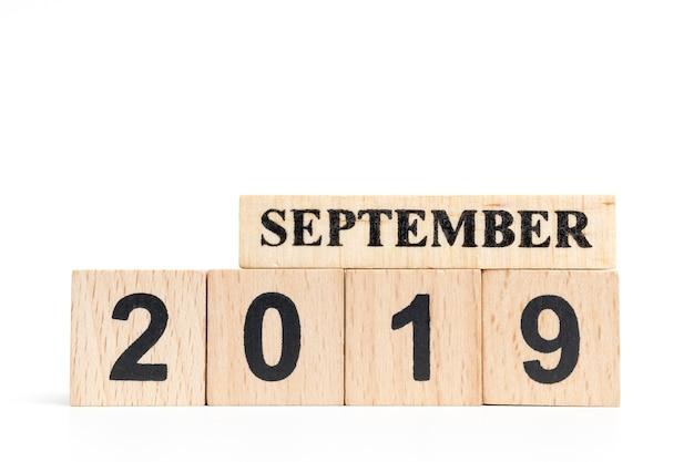 Drewniany kalendarz kostki (wrzesień) 2019