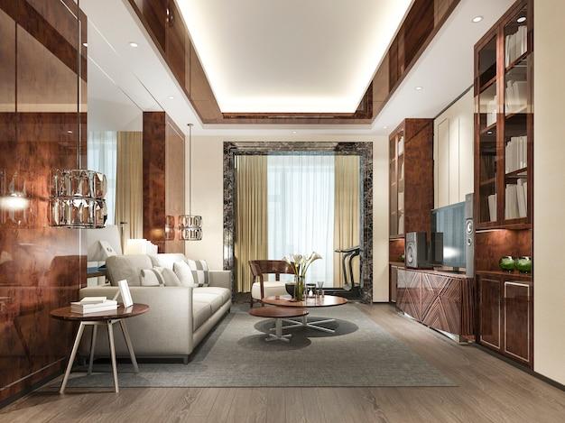 Drewniany klasyczny salon z marmurowymi kafelkami i półką na książki