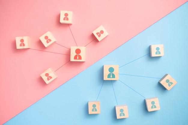 Drewniany klocek z ikoną ludzi naprzeciwko grupy biznesowej. koncepcje biznesowe sieci połączeń.