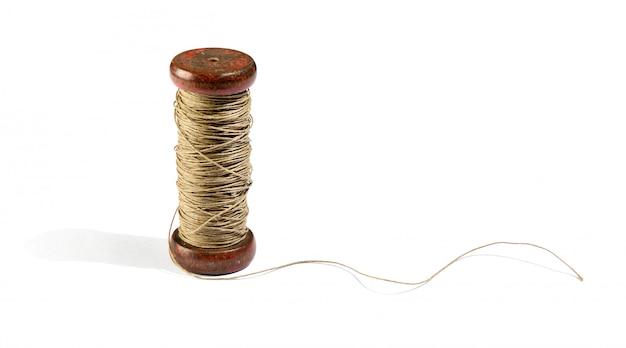 Drewniany kołowrotek vinatge z naturalnego sznurka konopnego