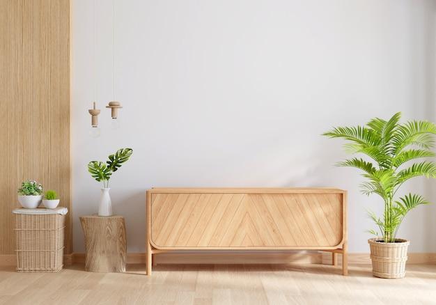 Drewniany kredens we wnętrzu salonu z miejscem na kopię