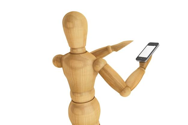 Drewniany manekin z mobilnym smartfonem na białym tle