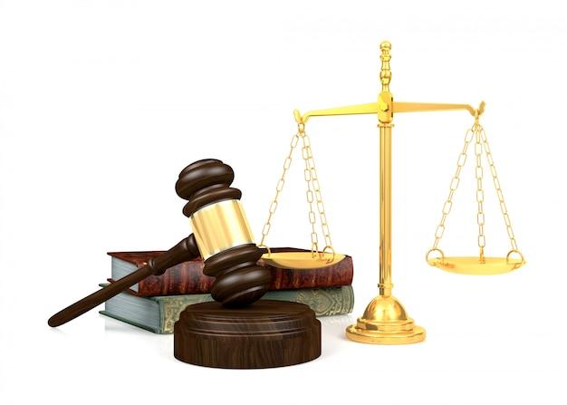 Drewniany młotek sędziego, złota skala i książka prawa, renderowanie 3d