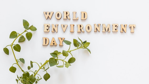 Drewniany napis światowego dnia środowiska