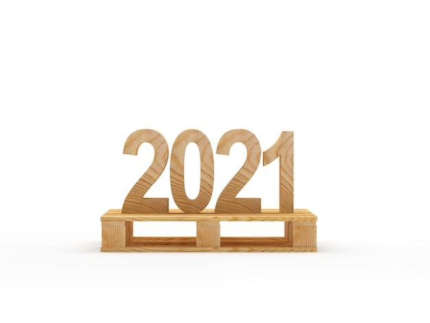 Drewniany numer 2021 na palecie cargo