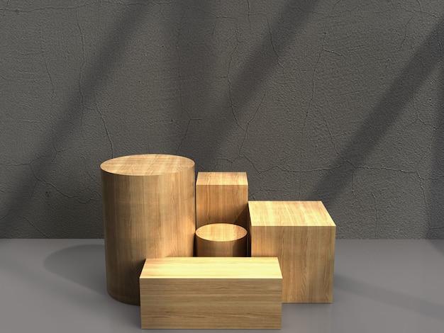 Drewniany piedestał na wystawie produktu stanąć w kroku z miejsca na kopię do wyświetlania treści projektu, renderowania 3d.