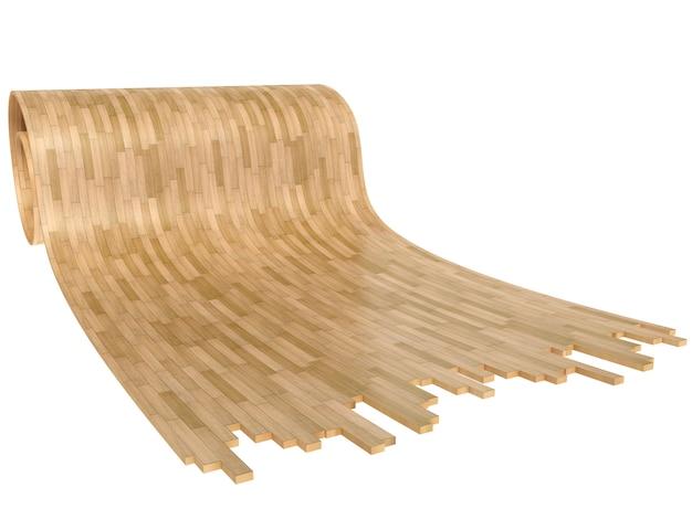 Drewniany podłogowy rool parkietowy nad białym tłem