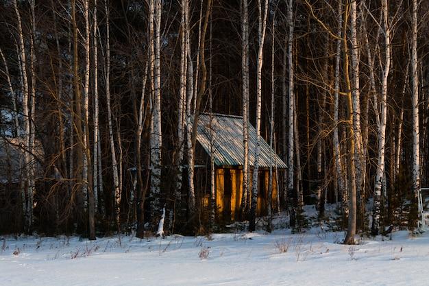 Drewniany przytulny dom w zaśnieżonym lesie. miła świąteczna atmosfera