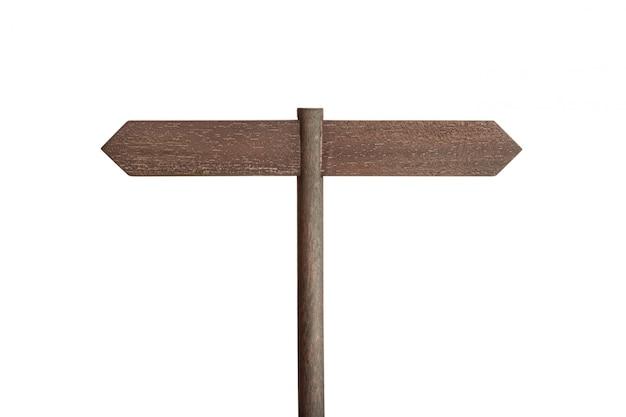 Drewniany słupek z dwoma pustymi tablicami skierowanymi w różne strony