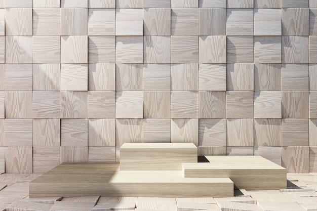 Drewniany stojak na produkty z drewnianym tłem i podłogą.