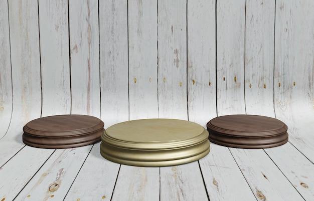 Drewniany stojak okrągły stojak z białym drewnianym tłem do umieszczania produktu ilustracja 3d