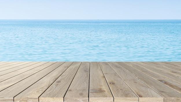 Drewniany stół ekspozycyjny, tło morza, koncepcja wyświetlania produktu letniego.