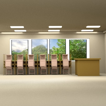 Drewniany stół i krzesło. sala edukacyjna z oknem, renderowania 3d