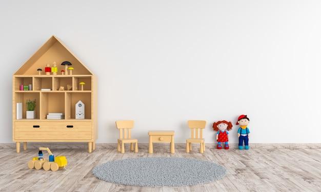 Drewniany stół i krzesło w białym pokoju dziecięcym dla makiety