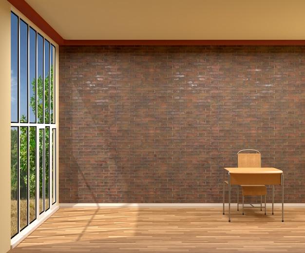 Drewniany stół i krzesło w pustym pokoju, 3d rendering