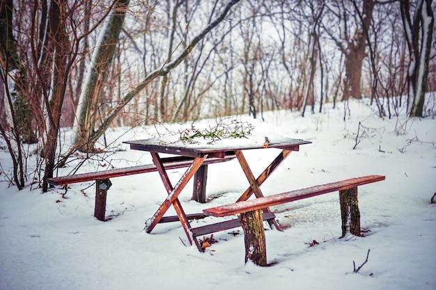 Drewniany stół i ławka w lesie pod śniegiem