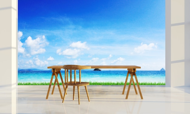 Drewniany stół i tło z widokiem na morze. renderowanie 3d