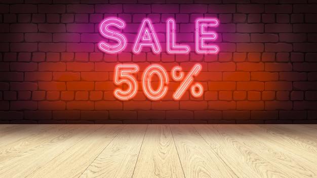 Drewniany stół na podium do wyświetlania towarów. neon na ścianie z cegły, sprzedaż 50 procent renderowania 3d