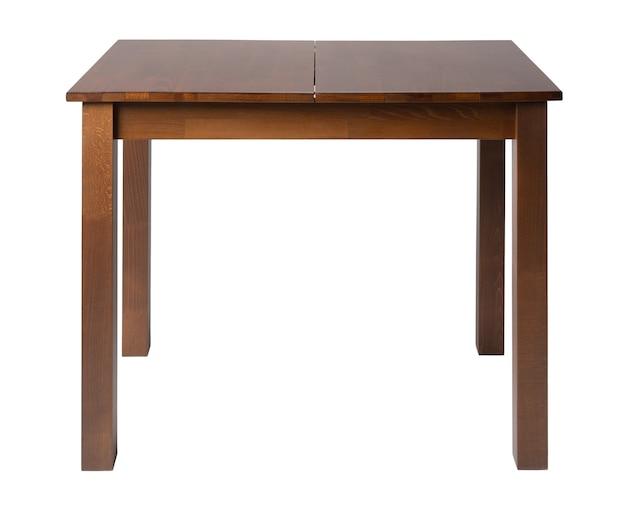 Drewniany stół z blatem prostokąt na białym tle