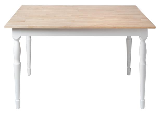 Drewniany stół z blatem prostokątnym na białym tle