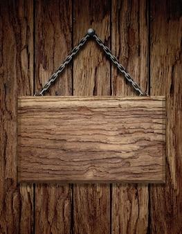 Drewniany szyldowy obwieszenie na łańcuchu