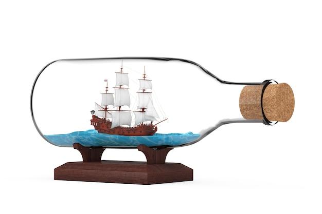 Drewniany vintage wysoki żaglowiec, karawela, statek piracki lub model okrętu wojennego w szklanej butelce na białym tle. renderowanie 3d