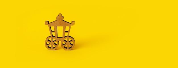 Drewniany wagon na żółtym tle, transport vintage, makieta panoramiczna