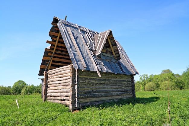 Drewniany wiejski dom na zielonym polu