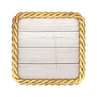 Drewniany znak i złota rama prostokąta liny z pustego miejsca na swój projekt na białym tle. renderowanie 3d