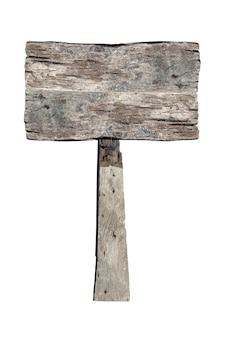 Drewniany znak na białym tle. stare drewniane deski znak