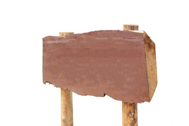 Drewniany znak na białym tle.