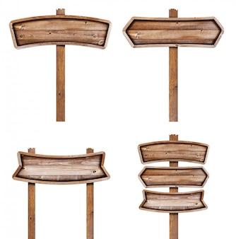 Drewniany znak odizolowywający na białym tle