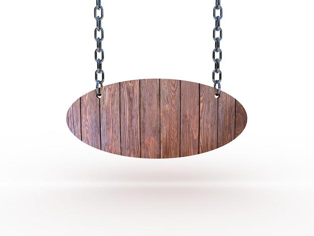 Drewniany Znak Wiszący Na łańcuchach Premium Zdjęcia