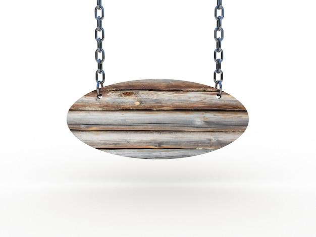 Drewniany znak wiszący na łańcuchach