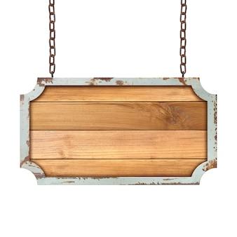 Drewniany znak wiszący na łańcuchu na białym tle.