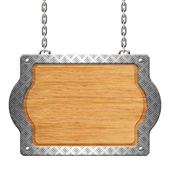 Drewniany znak ze stalowym obrzeżem płyty diamentowej na łańcuchach